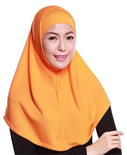 Fortuning's JDS Set di 2pcs sciarpa coperchio della testa musulmano Hijab comodo modo leggero arancia