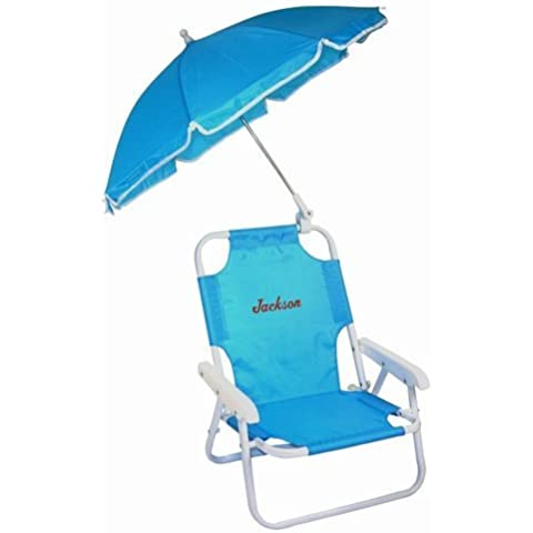 aBaby Personalized Blue Child Beach Chair with Umbrella, Name: Jackson by aBaby