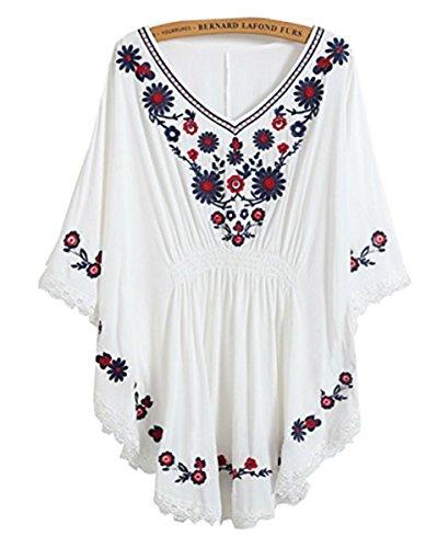HAOKTY Damen Mexikanischen Ethnischen Floral Gestickten V - Ausschnitt Bluse Boho Mini Kleid (Weiß) -