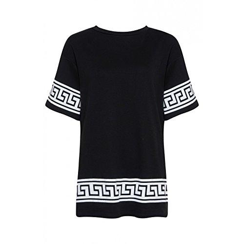 Oromiss Womens Boyfriend Oversize T Shirt Baggy Loose azteco egiziano Trim Versace Look Black S/M