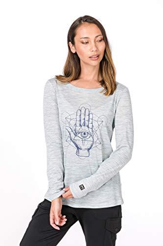 super.natural Damen Langarm-Shirt mit Aufdruck, Mit Merinowolle, W GRAPHIC LS 140, Größe: L, Farbe: Hellblau (Denim Bleach) -