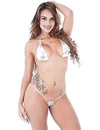 d55c104e7900 Familizo-Capi di abbigliamento Fami Donne Bikini Shiny Bikini Micro Top  Halter Top + G-String Set Costume da Bagno…