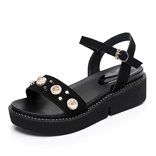 Sandali Perla Scarpe Donna Materiale di Cuoio Zeppe Piattaforma Pattini Apri Casual Nero,GJDE Black