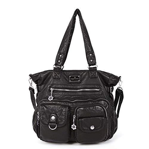 SPFBAG Damen Handtaschen Schultertaschen Umhängetaschen Große Crossbody Hobo Taschen PU Leder Henkeltaschen-Schwarz -
