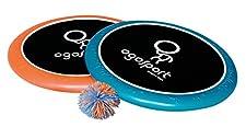 2 OGO Schaumringe mit elastischer Netzbespannung, nutzbar für das OGO Spiel oder als Wurfscheibe, 1 Wuschelball, die Superdisk fängt und schießt Bälle bis zu 45 m weit. Schult Koordination Auge-Arm. Ø Scheibe: ca. 30 cm.