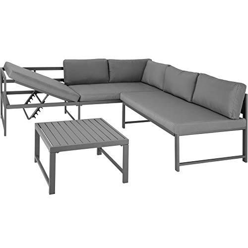 TecTake 403215 Conjunto de Muebles de Exterior Faro Gris, Mesa, Estructura de Aluminio, Set Inoxidable, Combinación Versátil, Incl. Cojines, para Jardín Patio Exterior