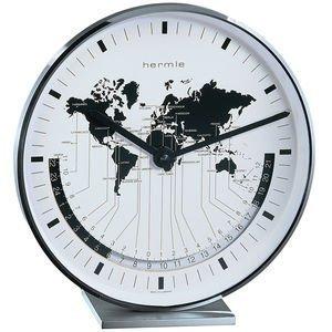 Quartz Stiluhr, Metalltischuhr, Nickel-Plated, with World Time Display, Approx. 19 x 18 x 6.5 CM
