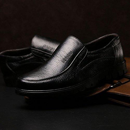 GRRONG Herren Leder Schuhe Freizeit Echtes Leder Breathable Schwarz Braun Black