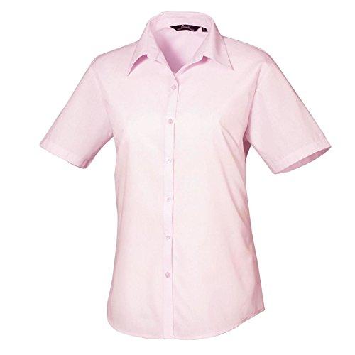 Premier Chemisier en popeline à manches courtes pour femme-Workwear Chemise de Visite Bureau Rose - Rose
