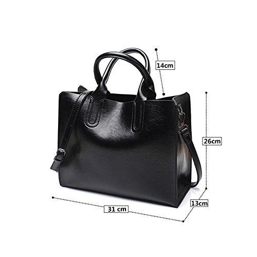 VECHOO Fashion Oil Wax Leather Handbag, Ladies Handbags, Girls Satchel, Elegant Top-Handle Bag, Vintage Shoulder Bag with Shoulder Strap