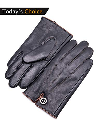 YISEVEN Herren Touchscreen Schaffell Lederhandschuhe mit Warm Gefüttert Elegant Winter Leder Autofahrer-Handschuhe, Schwarz XXL/10.5
