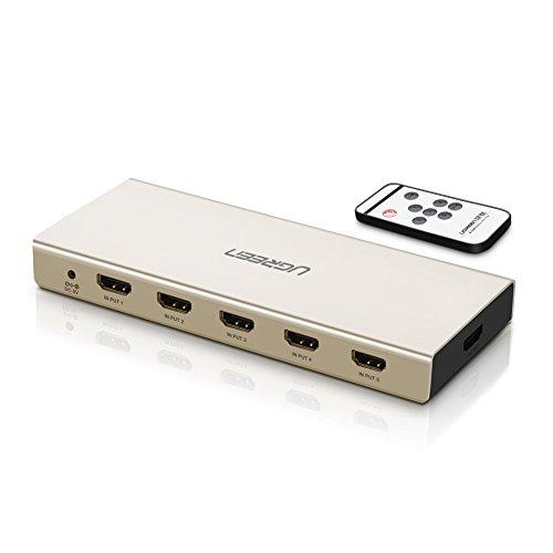UGREEN HDMI Switch 5 Port UHD 4K Umschlater 5 In 1 Out Verteiler Alu. IR Fernbedienung 5V 2A Netzteil TOSLINK SPDIF Optical 3.5mm Aux 4K*2K@30Hz 3D ARC Umschaltung für PS4 / 3, BluRay Player, TV Stick, Konsole, XBox One, Apple TV, Raspberry Pi, HD Fernseher usw Silber