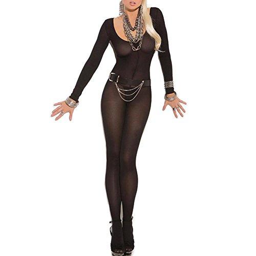 Fxwj Damen Reizwäsche Rundhals Perspektive Netzgarn Lange Ärmel Jumpsuit Strumpfhosen offenen Schritt Strumpf Catsuit , black