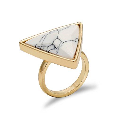Frauen Statement Big Dreieck-Ring Weiß Türkis Howlite Geburtsstein Gold-Ton-Band-Ring (Native Kostüme Prinzessin)