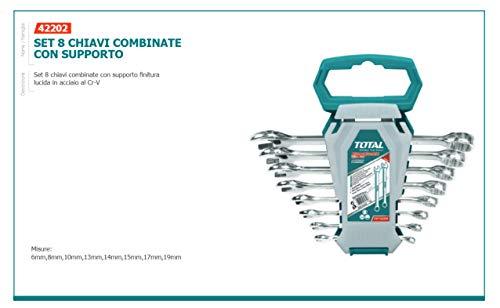 Set mit 8 Ringmaulschlüsseln, glänzendes Finish mit Ineco-Unterstützung -