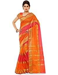 Kvsfab Cotton Silk Saree,Orange & Pink