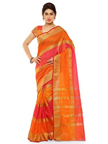 Kvsfab Cotton Silk Saree,Orange & Pink