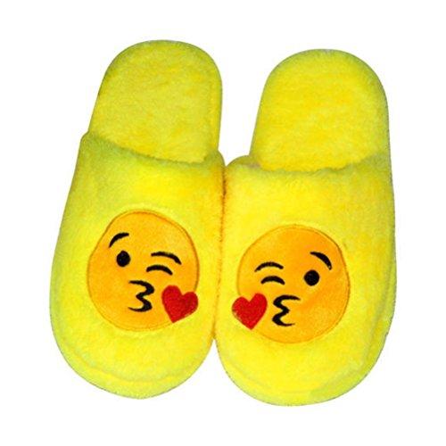 Hausschuhe Lustige Plüsch (Tinksky Paar Emoticon Hausschuhe Unisex Lustige Plüsch Pantoffeln für Zuhause oder Fasching-Karneval Größe 42-43)