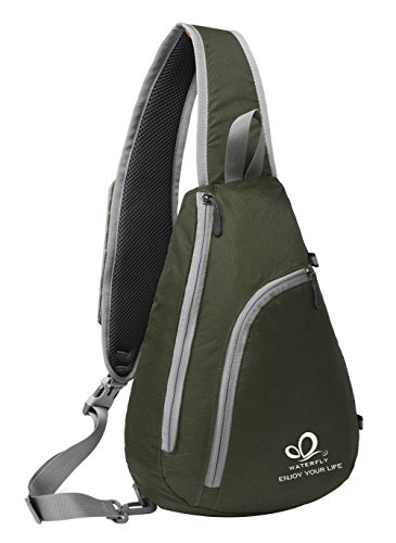 WATERFLY Sling Schulter Rucksäcke Taschen Crossbody Seil Triangle Pack Rucksack für Wandern oder Multipurpose Daypacks und Schule Handtasche für Mann Frauen Mädchen Armeegrün