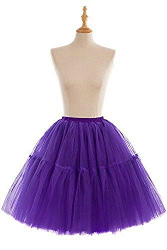 Babyonline® 1950 5 Lagen Petticoat Reifrock Unterrock Petticoat Underskirt Crinoline für Rockabilly Kleid Dunkel Lila