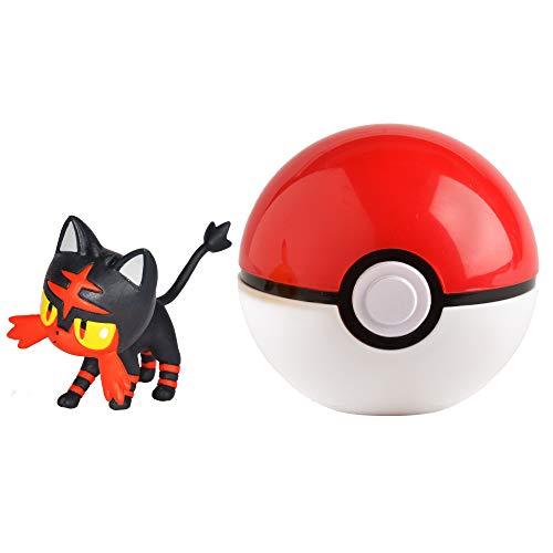 Pokémon 35927 FLAMIAU & POKÈBALL, Spielset mit Original Pokemonfigur ca. 5 cm und Pokéball für Clip N Go Gürtel, Set mit Pokeball und Pokemon Figur für Pokemontrainer ab 4 Jahre, Trainer (Pokemon Mit Pokeball)