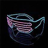 Lerway EL Néon LED Lumineuses Lumineuse Lumière Lunettes Masques Noir Cadre+ Voix Contrôle Boîte pour Fête Décorations, le Parti de mariage, Noël Party (rose + bleu)