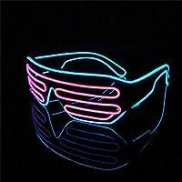 Lerway Marco Negro 2 Colores LED Luz de Neón Alambre Novedad Shutter Gafas + Control de Voz,para Concierto en Vivo, Año Nuevo Loco, Navidad (Rosa+Azul)