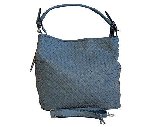Borsa donna David Jones in ecopelle a lavorazione intrecciata modello sacca a spalla - azzurra