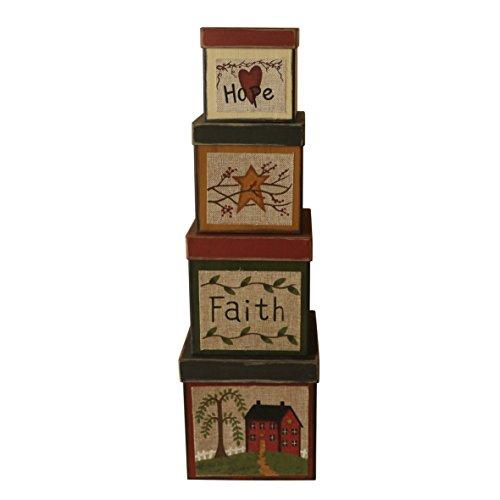 CVHOMEDECO. Juego de 4 cajas de cartón para nido cuadradas con diseño de la esperanza vintage, tamaño grande, 20 x 20 x 20 cm