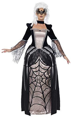 Smiffys, Damen Schwarze Witwe Baronin Kostüm, Bedrucktes Kleid, Größe: M, 43741 (Witwe Schwarze Kostüm)