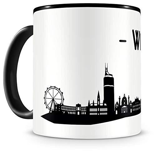 Samunshi® Wien Skyline Tasse Kaffeetasse Teetasse H:95mm/D:82mm schwarz/schwarz