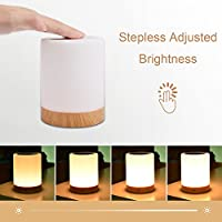 Bedside Touch Lamp,UNIFUN Touch Sensor Table Lamp LED Smart Atmosphere Mood Night Light + USB Rechargeable Dimmable Warm White Light & Color Changing RGB from UNIFUN