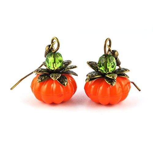 SCHMUCKZUCKER Damen Ohrhänger Süßer Kürbis Halloween Modeschmuck bronze orange grün