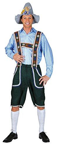 Karneval Klamotten Kostüm Trachten-hemd blau weiss kariert Herren Oktoberfest-hemd Bayern-hemd Tirol Herrenkostüm 56/58 (Erwachsene Weiße Tiroler Kostüme)