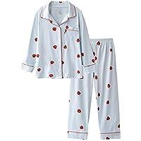 DUKUNKUN Estampado De Fresas Pijamas De Algodón Mujeres Dulce Linda Manga Larga Ropa Casual Conjunto De Pijamas,S
