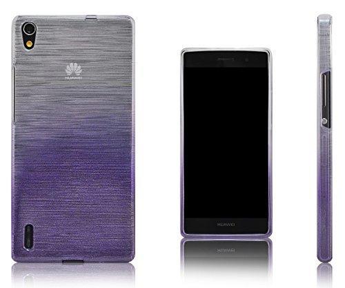 Xcessor Transition Farbe Flexible TPU Case Schutzhülle für Huawei Ascend P7. Mit Gradient Silk Gewinde Textur. Transparent/Lila