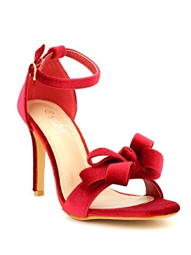 Cendriyon, Sandale Rouge C'M Velours Chaussures Femme Rouge