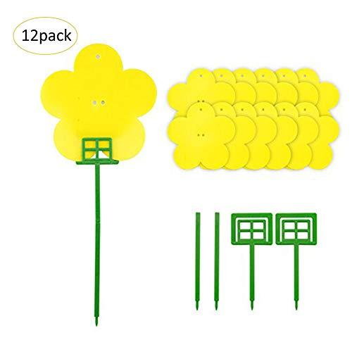 szseven 12 Unids Tablero de Insecto Adhesivo de Doble Cara Tipo de Flor Tablero de Trampa Flor de Planta En Maceta Tablero de Insecto No Tóxico Tableros de Pegamento Volador Lazos