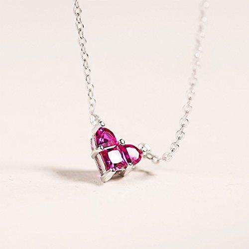 XUHUZI Intarsio a forma di cuore rosso di cristallo collana