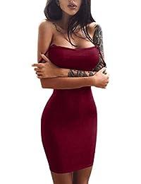 Blusas para Mujer Rawdah Falda Sin Mangas para Mujer Mini Vestido SóLido Ocasional Blusa De Hombros Descubiertos Mujer Sexy…