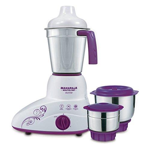 Maharaja Whiteline Stunner MX-168 500-Watt Mixer Grinder with 3 Jars (Purple/White)