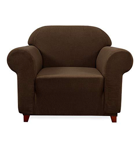 Subrtex Spandex Sofabezug Stretch Couchbezug Sesselbezug Elastischer Antirutsch Sofahusse (1 Sitzer, Kaffee)