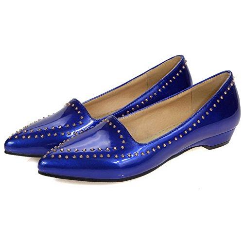 VogueZone009 Femme à Talon Bas Verni Mosaïque Tire Pointu Chaussures Légeres Bleu