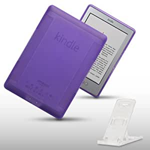 AMAZON KINDLE 4 TPU GEL CASE WITH DESK STAND BY CELLAPOD CASES PURPLE