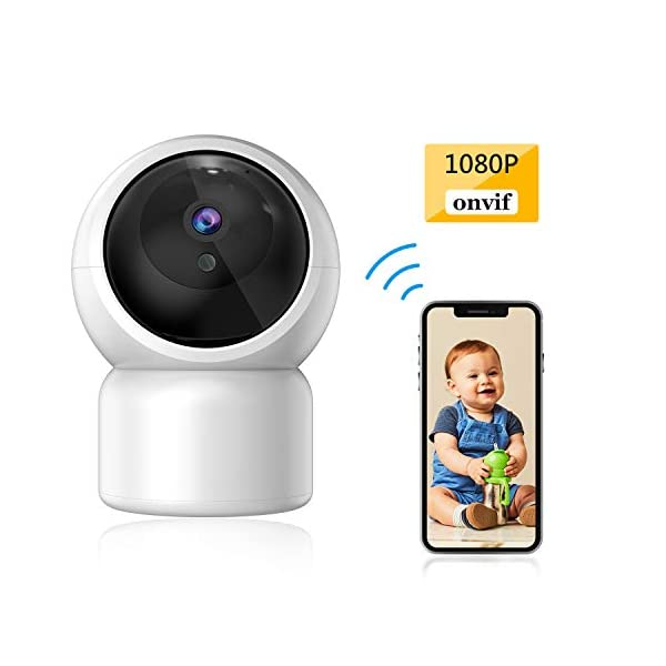 """Baby Camera 1080P IP Camera, JUMPER WLAN Security Camera Pan/Tilt ONVIF IP Cam P2P Network Camera Baby Monitor 2 Way Audio IR-Cut Night Vision Motion Detection Jumper 【 JUMPER 1080P WIFI Baby Cam 】 -- Built-in WiFi module, supports 802.11b / g (supports only 2.4G, no 5G WIFI). Standard H.264 video compression. Network settings through the APP """"YCC365 Plus"""", supports iOS and Android Smartphone/Tablet PC. 【 2,0 Megapixel CMOS Sensor & Intelligent Tracking】 -- Pan:355°/ Tilt:120° , ; Maximum image resolution up to 1080P. This IP camera can recognize people and follow their movement to keep monitor . 【 2 Way Audio & Alarm detection】 --The baby monitor supports 2 way audio (built-in mic & speaker) and micro SD card up to 128G (card is not included). The WiFi IP Camera supports motion detection alarm, push notification alarm, whistle alarm. 1"""