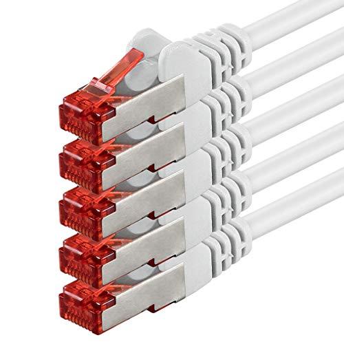 1aTTack.de 83509 - 5m - CAT6 Netzwerkkabel CAT.6 Patchkabel (PoE) Ethernetkabel SFTP PIMF 1000 Mbit/s - 5 Stück - weiß