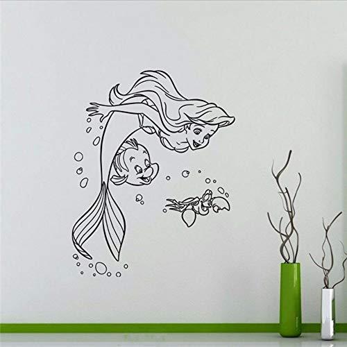 Waofe ArielVinyl Aufkleber Prinzessin Flunder Sebastian Cartoons Wandaufkleber Kinder Mädchen Jungen Kindergarten Kunst Decor Wandbild 57 * 72 Cm