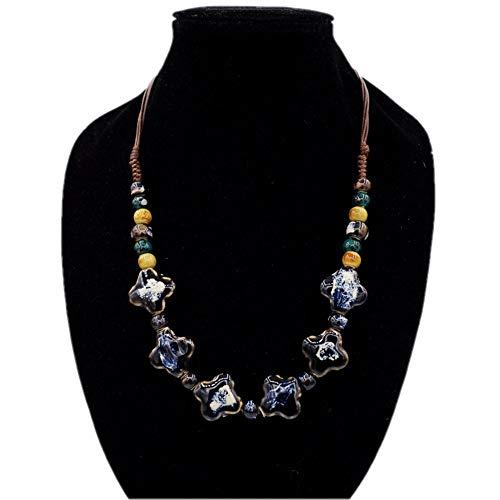 Damen Halskette, Bohemian Ethnic Style Fashion Retro Chunky Halskette Länge verstellbar Anweisung Frauen Halskette Choker Bib Kragen Schmuck Frauen Mädchen