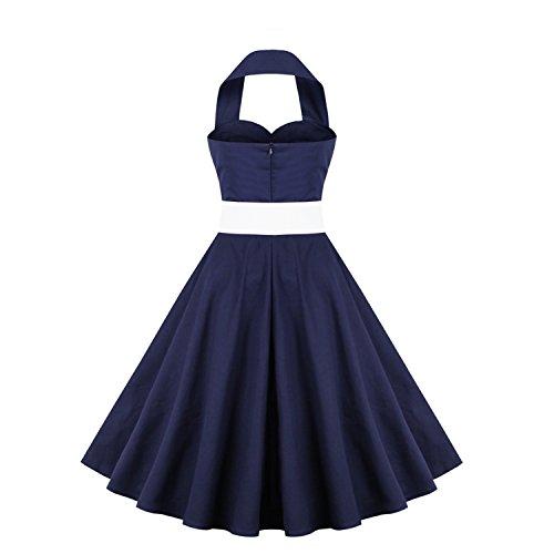 LUOUSE Vintage 1950's Audrey Hepburn pin-up robe de soirée cocktail, style halter années 50 à pois 1-Bleu