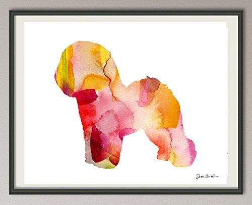 bichon frise Rasse Hunde Hunderasse Fine Art Print Aquarell Silhouette Profil Poster Kunstdruck Plakat modern ungerahmt DIN A 4 Deko Wand Bild -